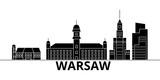 Warsaw architecture skyline, buildings, silhouette, outline landscape, landmarks. Editable strokes. Flat design line banner, vector illustration concept.  - 178872768