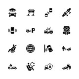 Auto Safety icons - Expand to any size - Change to any colour. Flat Vector Icons - Black Illustration on White Background.