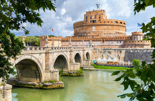 Saint Angel Castle and bridge over Tiber river in Rome. Italy Poster
