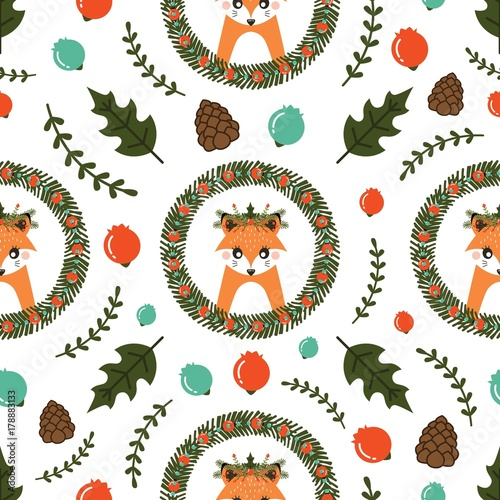 Cotton fabric Christmas seamless pattern with cute Fox