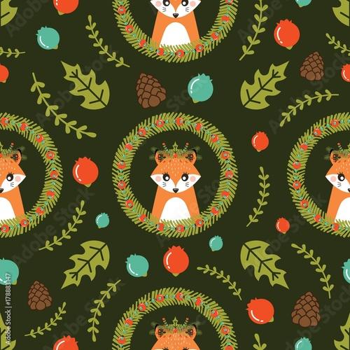 Materiał do szycia Christmas seamless pattern with cute Fox