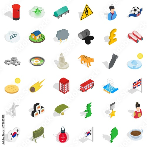 History country icons set, isometric style