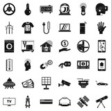Laptop icons set, simple style