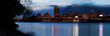 Night scene of urban Albany from Rensselaer docks across Hudson River
