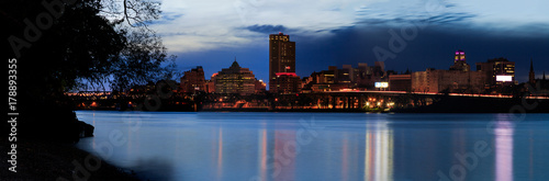 Night scene of urban Albany from Rensselaer docks across Hudson River - 178893355