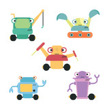 Cute Robot Set  Wall Sticker