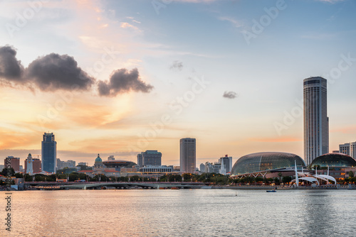 Amazing evening view of Marina Bay and downtown of Singapore