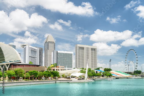Scenic view of modern buildings and Marina Bay in Singapore