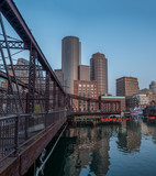 View of Red Metal Bridge with Boston Skyline in the background - 178905504