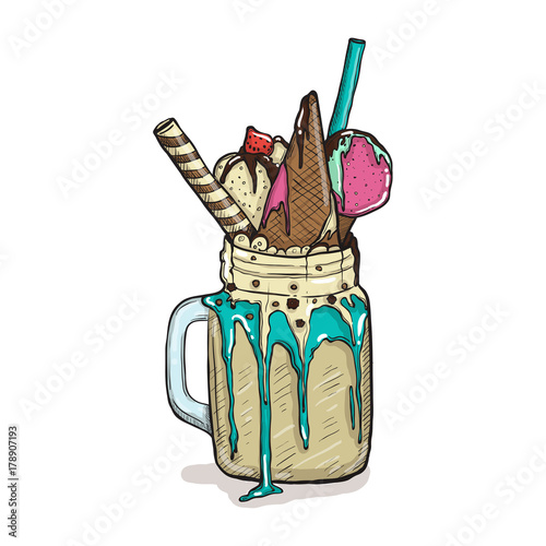 Fotobehang Milkshake cartoon Style Milkshake with waffles strawberries and ice cream. Hand Drawn Creative Dessert isolated
