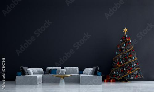 The Interior Design Concept Idea Of Lounge And Modern Living Room And  Christmas Tree Background /