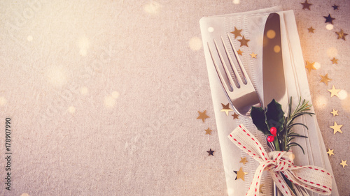 Fototapeta New Year eve 2018, Christmas food lunch, dinner table place setting, festive background