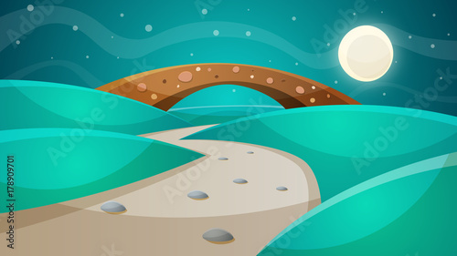 Wall mural Night bridge - cartoon illustration. Vector eps 10