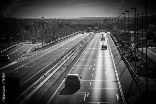 Transporte de carretera por coches y Camión Poster