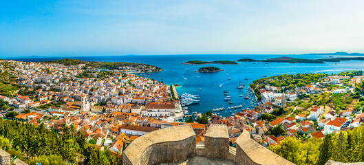 Panorama Island Hvar islands. / Aerial panorama of Hvar seascape with marble archipelago in front, Croatia.