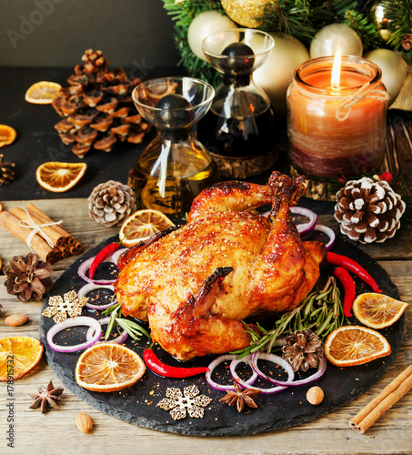 Baked turkey for Christmas or New Year space for text - 178915732
