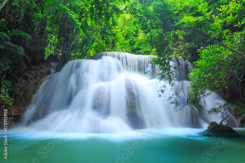 Huay Mae Kamin Waterfall in Khuean Srinagarindra National Park. The beautiful and famous waterfall in deep forest, Kanchanaburi province, Thailand - 178915958