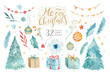 Merry Christmas watercolor set with floral elements. Happy New Year lettering poster collection. Winter flowers, gift and branch bouquets decoration. Gold and green