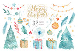 Merry Christmas watercolor set with floral elements. Happy New Year lettering poster collection. Winter flowers, gift and branch bouquets decoration. Gold and green - 178920915