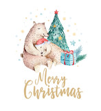 Christmas watercolor bear. Cute kids xmas forest bears animal illustration, new year card or poster. Hand drawn nursery isolated baby animals painting. - 178920963