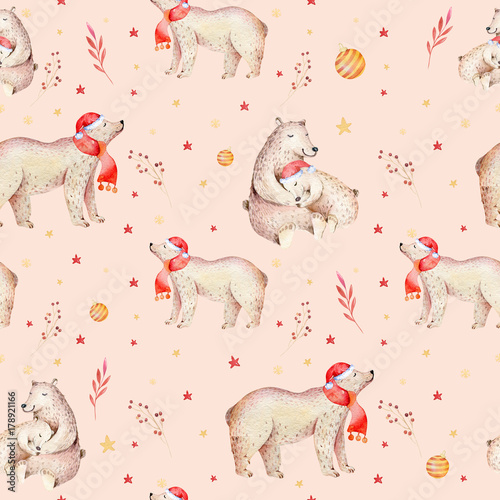 Materiał do szycia Seamless Christmas baby bear seamless pattern. Hand drawn winter backgraund with bear, snowflakes. Nursery animal illustration. New year design. Gold and red