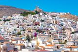 Ermoupoli, Syros. Ermoupolis at Syros island with Anastasi church and traditional houses - 178922388