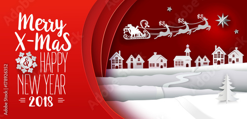 Paper cut out and craft. Typography greeting Merry Christmas card. Landscape with houses and Santa Claus flying with raindeers. Holiday Web banner. Red Xmas Night banner. Vector illustration.