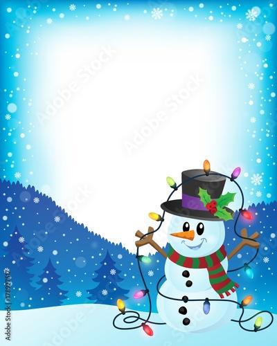 Papiers peints Enfants Snowman with Christmas lights frame 1