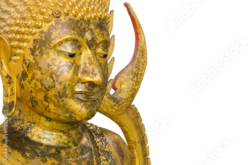 Foto op Canvas Boeddha Thai Buddha face isolated on white background