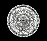 Mandala flower black and white