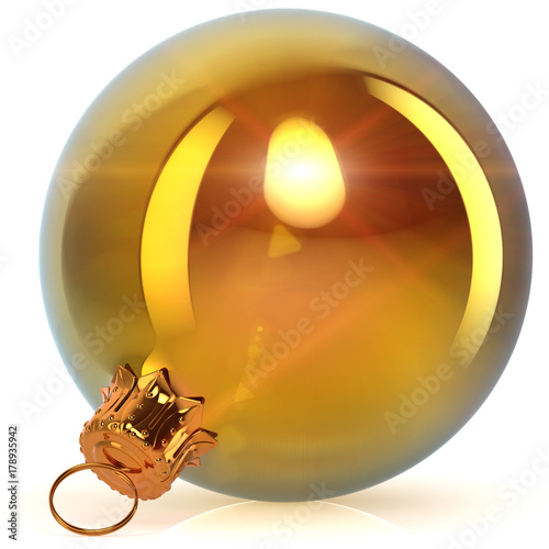 Poster Christmas ball golden decoration closeup New Year's Eve bauble hanging adornment Merry Xmas ornament sparkling yellow