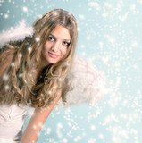 Merry Christmas: Beautiful female blonde Angel with stars and snowflakes :) - 178937507