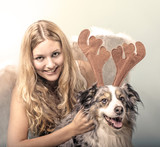 Merry Christmas: Beautiful female blonde Angel with her Christmas dog :) - 178937756