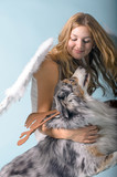 Merry Christmas: Beautiful female blonde Angel with her Christmas dog :) - 178938156