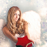 Merry Christmas: Beautiful female blonde Angel with stars and snowflakes :) - 178938325