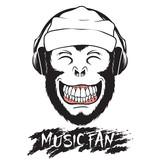 Smiling monkey listening to music through headphones.Prints logo design for t-shirts
