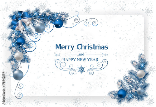 Christmas background with decoration and paper. Christmas card with bells and ribbons