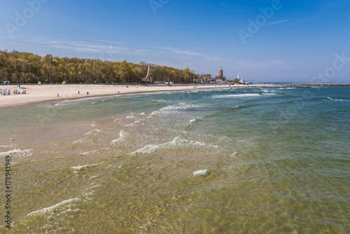 Baltic seashore seen from pier in Kolobrzeg, Poland