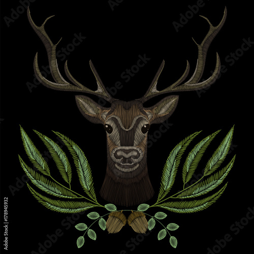 Forest deer face with geen wreath, embroidery for fashion design wearing. Embroidered patch. - 178945932