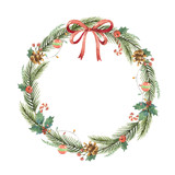 Watercolor Christmas frame with fir branches and place for text. - 178948509