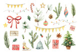Watercolor vector Christmas set with fir branches, balls, gifts, garlands and bow. - 178948585