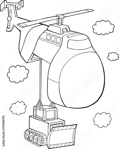 Foto op Canvas Cartoon draw Cute Helicopter Vector Illustration Art