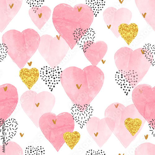 Pink watercolor hearts pattern. Valentines Day seamless background.