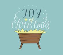 Hand Lettering Joy Of Christmas  Manger Sticker