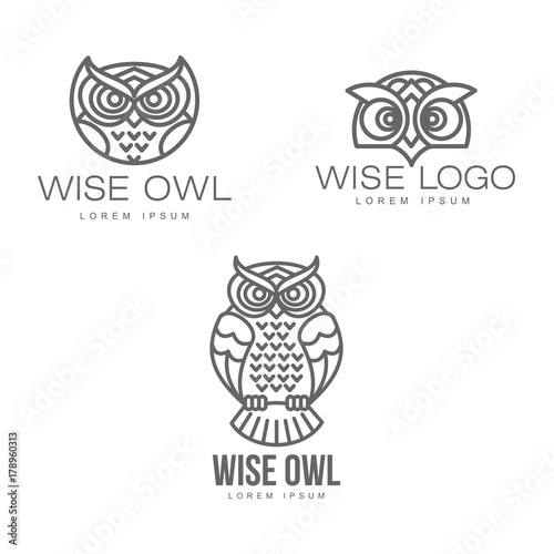 Foto op Plexiglas Uilen cartoon wise hand drawn sitting wise owl, owl head closeup set. brand logo stylized design silhouette pictogram. Line icon bird isolated illustration on a white background.
