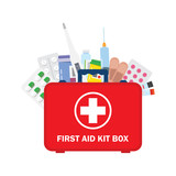 Medical first aid kit with different pills, syringe and thermometer. - 178960716