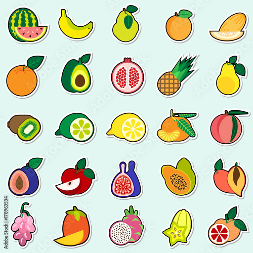 Fruits Stickers On Blue Background Colorful Icons Collection Vector Illustration - 178963534