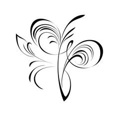 ornament 168. abstract floral ornament in black lines on a white background