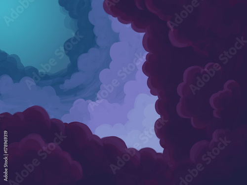 Cartoon purple clouds - 178969319