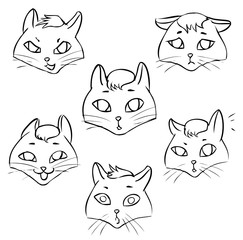 Line-art. Coloring page Emotions cat